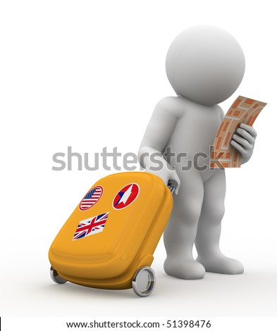 character with baggage watching map - stock photo
