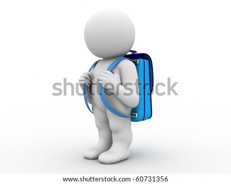 character with blue knapsack - stock photo