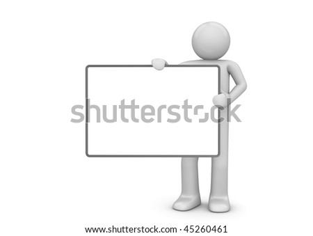 Character with copyspace (3d isolated characters, copyspaces, business series) - stock photo