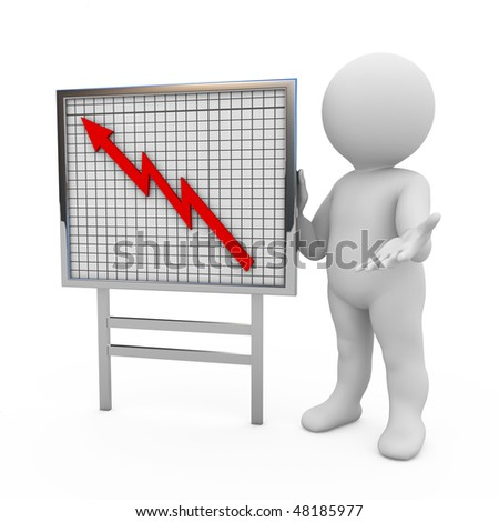 character with graph on board makes business presentation