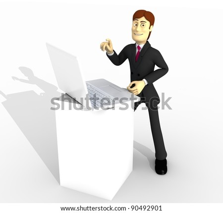 character with laptop - stock photo