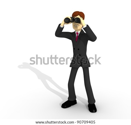 character with suit and binoculars - stock photo