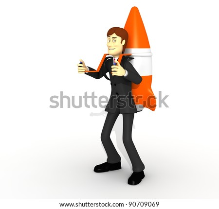 character with suit and rocket - stock photo