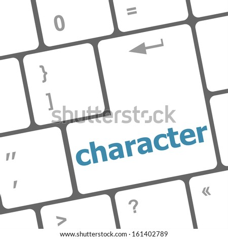 character word on keyboard key, notebook computer button, raster - stock photo