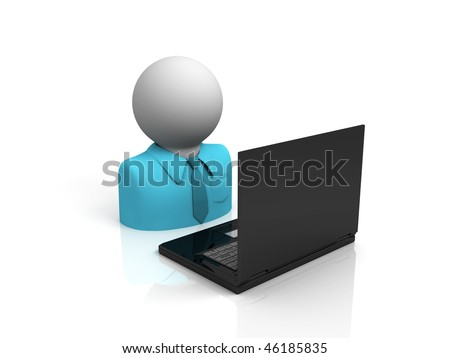 character working on laptop