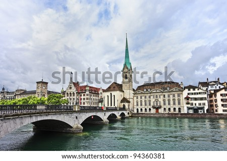 Characteristic architecture in the old city center of Zurich, Switzerland - stock photo