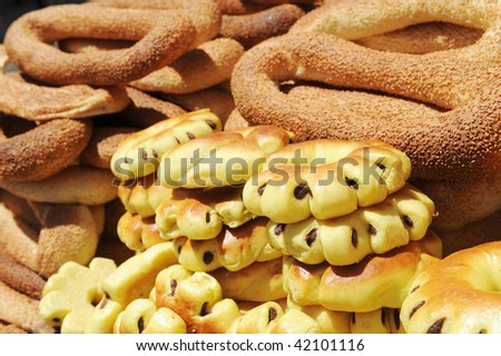 characteristic holy bread at jerusalem gate - stock photo