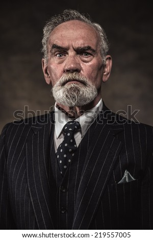 Characteristic senior business man with gray hair and beard wearing blue striped suit and tie. Against brown wall. - stock photo
