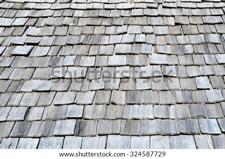 characteristic wooden roof of a hut in South Tyrol Italy - stock photo