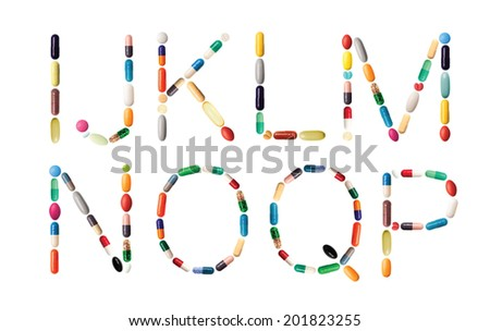Characters I,J,K,L,M,N,O,Q and P on white made of various colorful pills, capsules and tablets - stock photo