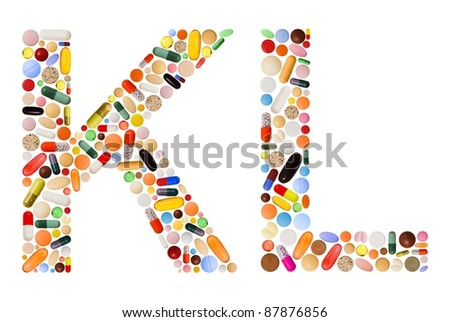 Characters K and L made of various colorful pills, capsules and tablets