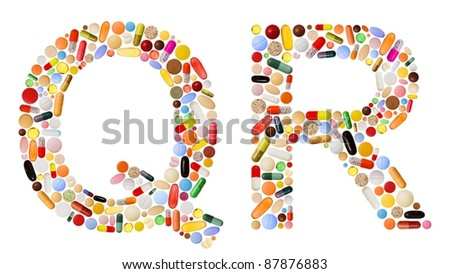 Characters Q and R made of various colorful pills, capsules and tablets