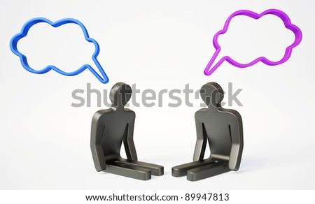 characters talk on a white background isolated. - stock photo