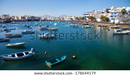 Charco de San Gines, the laguna at the city of Arrecife, capital of Lanzarote, Canary Islands  - stock photo