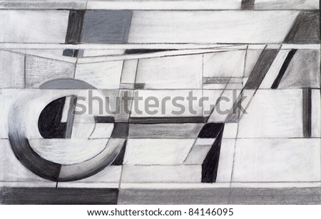 charcoal and chalk abstract study - stock photo