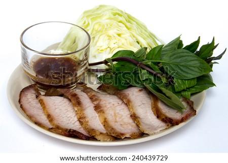pork neck grill grilled pork neck for thai closeup of grilled pork ...