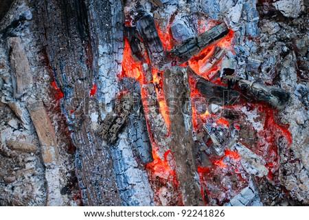 Charcoal burning ember - stock photo
