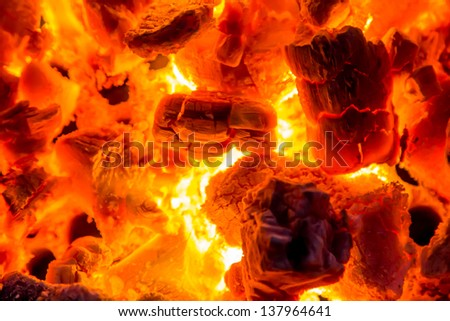 Charcoal fire. - stock photo