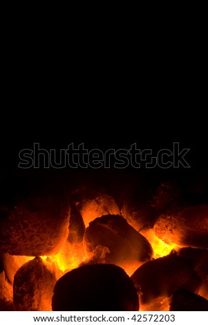 Charcoal fire for barbecue - stock photo