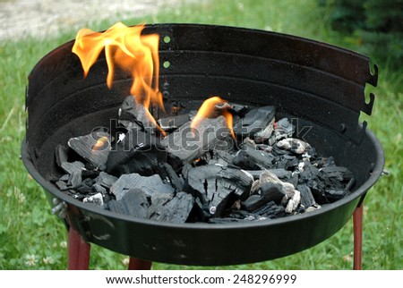 charcoal fire for BBQ