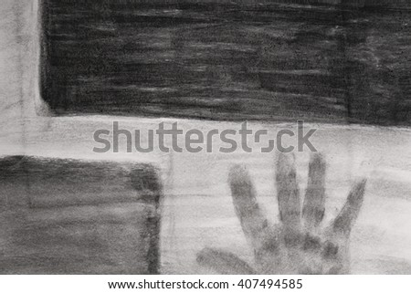Charcoal painting artwork - stock photo