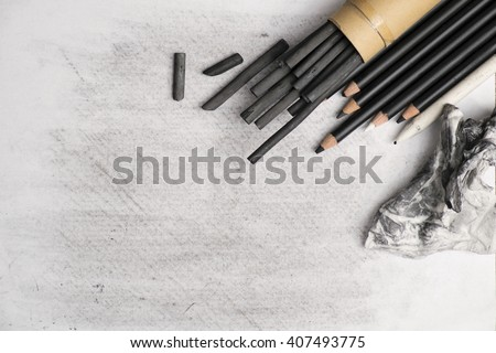 Charcoal painting equipment to make a charcoal artwork