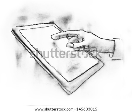 charcoal sketch of  hand touching tablet - stock photo