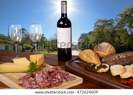 Charcuterie and Cheese Platter, Bread, Chimichurri and Red Wine in a Pleasant Day