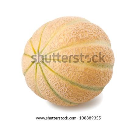 Charentais melon  isolated on white - stock photo