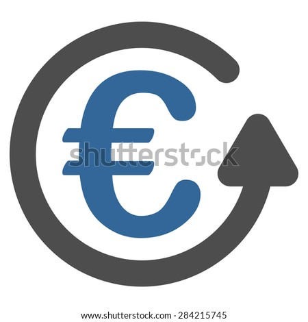 Chargeback from BiColor Euro Banking Icon Set. Glyph style: flat bicolor, cobalt and gray symbol, rounded angles, white background. - stock photo
