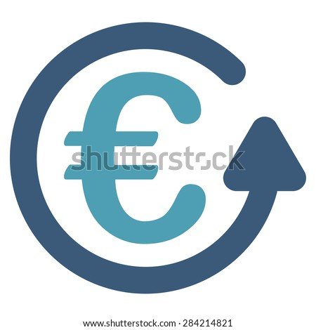 Chargeback from BiColor Euro Banking Icon Set. Glyph style: flat bicolor, cyan and blue symbol, rounded angles, white background. - stock photo
