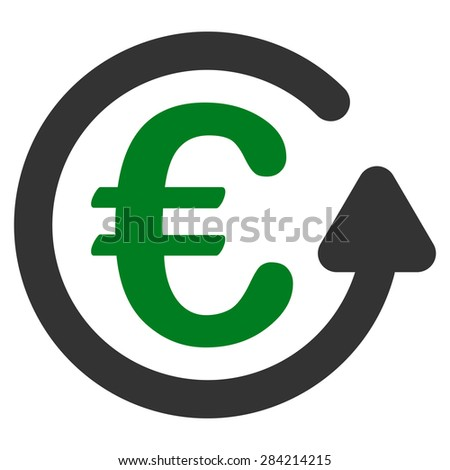 Chargeback from BiColor Euro Banking Icon Set. Glyph style: flat bicolor, green and gray symbol, rounded angles, white background. - stock photo