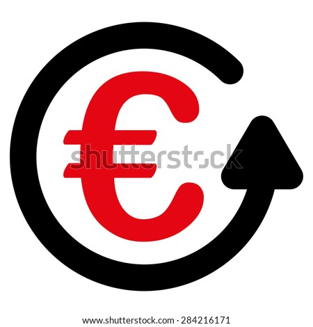 Chargeback from BiColor Euro Banking Icon Set. Glyph style: flat bicolor, intensive red and black symbol, rounded angles, white background. - stock photo