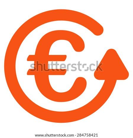 Chargeback from BiColor Euro Banking Icon Set. Glyph style: flat, orange symbol, rounded angles, white background. - stock photo