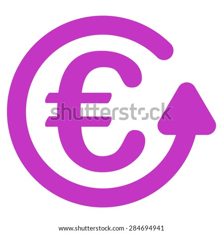 Chargeback from BiColor Euro Banking Icon Set. Glyph style: flat, violet symbol, rounded angles, white background. - stock photo