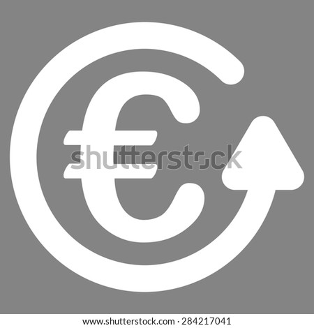 Chargeback from BiColor Euro Banking Icon Set. Glyph style: flat, white symbol, rounded angles, gray background. - stock photo