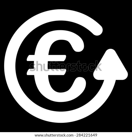 Chargeback from BiColor Euro Banking Icon Set. Glyph style: flat, white symbol, rounded angles, black background. - stock photo