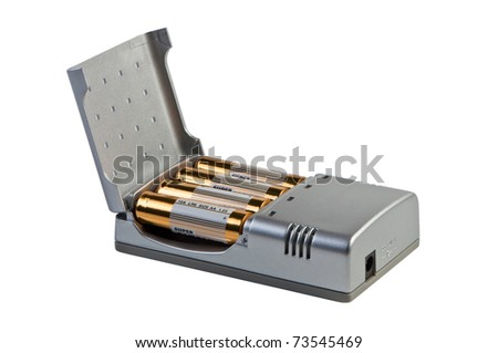 Charger for accumulators isolated on white. - stock photo