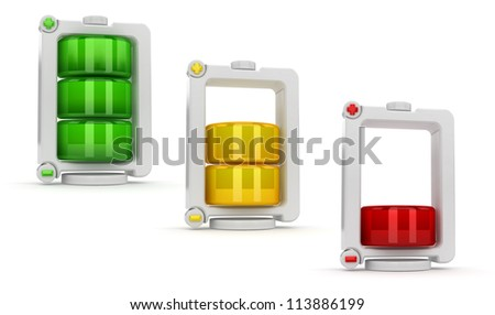 Charging battery icon set.