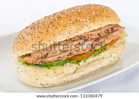 Chargrill Chicken Sandwich - Chargrill chicken breast slices, honey mustard mayonnaise, tomato, cucumber and lettuce in a white bun with sesame seeds. - stock photo