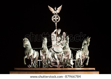 chariot Brandenburg Gate by night in berlin germany - stock photo