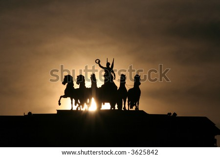 Chariot of Glory on the Triumphal Arch in Moscow. Early in the morning. - stock photo