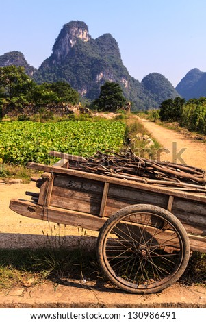 Chariot with branches in a limestone valley landscape in South China - stock photo
