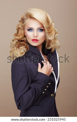 Charisma. Businesslike Woman Blonde in Blue Suit - stock photo