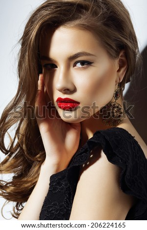 Charisma. Gorgeous Aristocratic Woman with Red Lips - stock photo