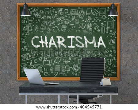 Charisma - Handwritten Inscription by Chalk on Green Chalkboard with Doodle Icons Around. Business Concept in the Interior of a Modern Office on the Dark Old Concrete Wall Background. 3D. - stock photo