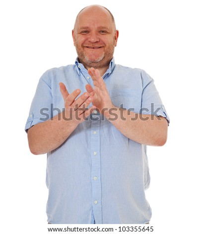 Charismatic adult man clapping hands. All on white background.