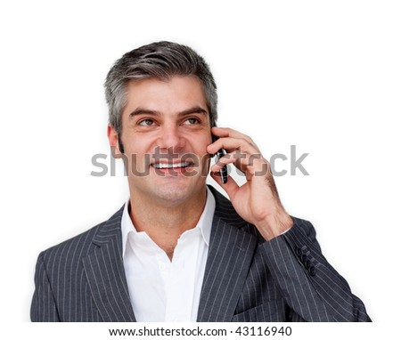 Charismatic businessman on phone against a white background