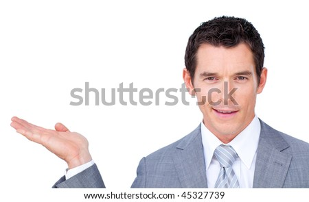 Charismatic businessman presenting against a white background