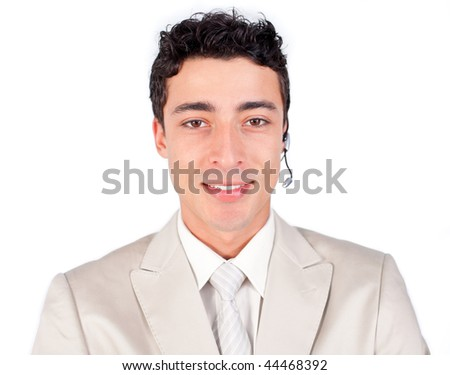 Charismatic customer service representative using headset against a white background - stock photo